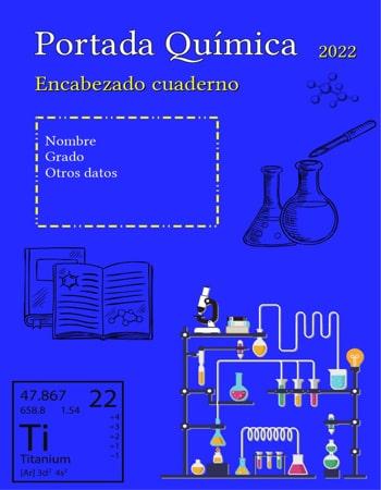 Portada de química azul con dibujos