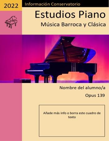 Portada de música Piano morada