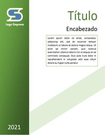 Portada Word minimalista Dosier Informe verde